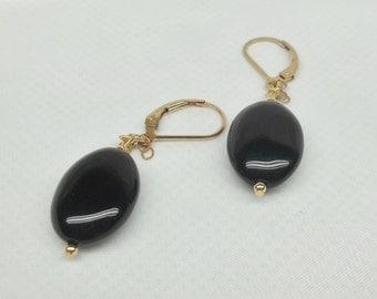 Solid 14kt Gold Black Onyx Earrings Dangle Earrings Solid 14kt Gold or Gold Filled Earrings Hooks Lever Back Earrings Posts BuyAny3+1 Free