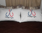 """Couples Pillowcases, Bedroom Decor with Two Fish Hooks and """"Hooked On You"""" Hand Painted"""