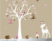 Childrens wall decal forest nature decal set pink and brown - 0136