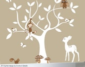 Gender Neutral wall decal tree childrens, vinyl wall decal tree, white tree decal, decal tree kids, white leaves decal, fawn decal