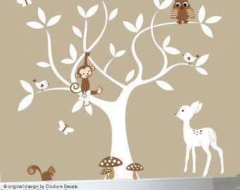 Nursery jungle decal set - white tree wall decal - white decals - 0258