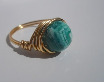 Gold Tone Wire Wrapped Frosted Green Agate Ring, Custom Ring, Wire Wrapped Ring, Wire Ring, Green Agate, Custom Rings