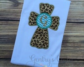 Monogrammed cheetah print and turquoise chevron cross. Religious little girl shirt. Monogrammed kids clothes. Christian cross with initial.
