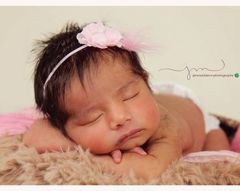 light pink  skinny elastic headband with small pink flower feather, baby shower gift, newborn photography prop, wedding or birthday