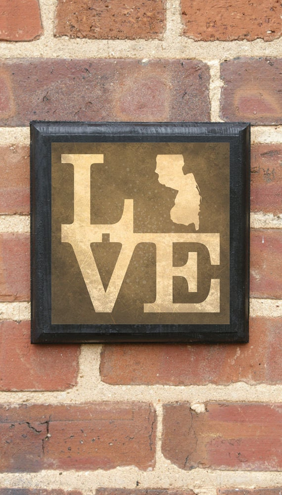 New Jersey Nj Love Wall Art Sign Plaque Gift Present Home