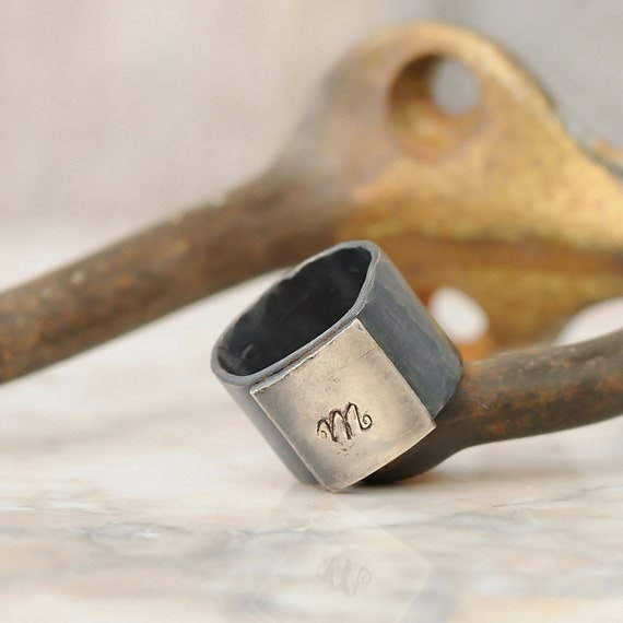 Personalized Ring - Sterling Silver Personalized Initial Ring - Personalized Signet Ring