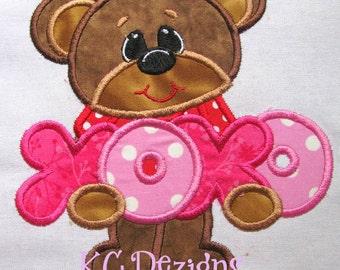 Bear Love XOXO Machine Embroidery Applique Design - Bear With xoxo Applique - Bear Applique Design - Bear Applique Design - Applique Design