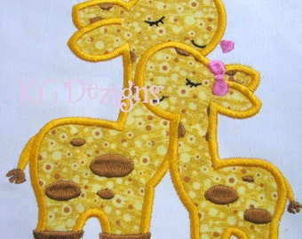 Mommy and Baby Giraffe Machine Applique Embroidery Design - 4x4, 5x7 & 6x8