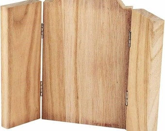 Small Wooden Icon - Three Fold Triptych Art - Craft Paint Decorate Picture - Hinged