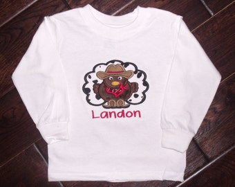 Boutique Cowboy or Cowgirl turkey Shirt Sizes 3M to 14 youth