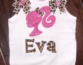 Boutique Doll Head with Appliqued Name Tank Top Sizes 3M to 14 youth