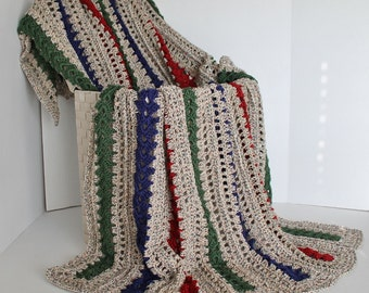 Afghan - Crochet Blanket - Gem Tones with a Coordinating Neutral Multi - Ready to Ship