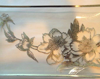 Glass Cookie Plate with Silver Overlay