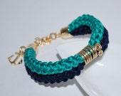Nautical accessories, Cotton Cord Bracelet, Cotton Double Rope Bracelet, Eco-fridendly Bracelet, Cotton Rope Bracelet, Sea Green, Navy Blue