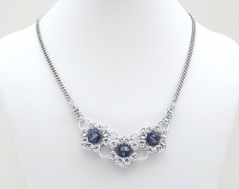 Tanzanite crystal chainmail necklace
