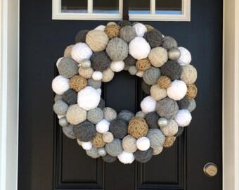 "Handmade Winter Yarn Ball Wreath.  22-24"" Wreath.  Door Decor. Home Decor.Wall Hanging.Jute Wreath.Winter Wreath. Christmas Wreath.Christmas"