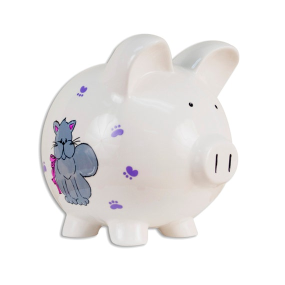 Personalized hand painted kitty cat piggy bank for by for How to paint a ceramic piggy bank