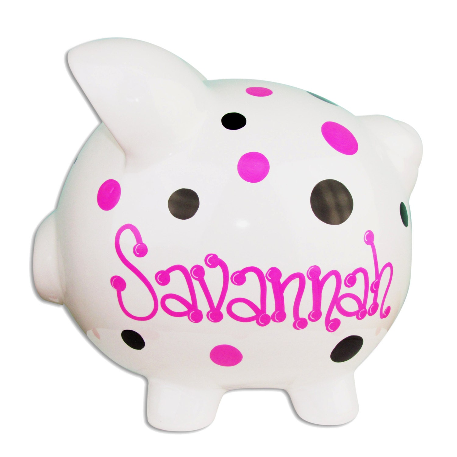 Children's Hand Painted Personalized Piggy Bank Pink And