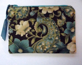 Cosmetic Bag - Fabric Gadget Pouch - Zipper Pouch - Makeup Bag -  Cotton Zip Pouch - Brown & Turquoise
