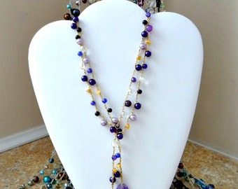 Purple Beaded Lariat Crocheted on a Gold Lame Chain - Ravens Fans, this is for you!