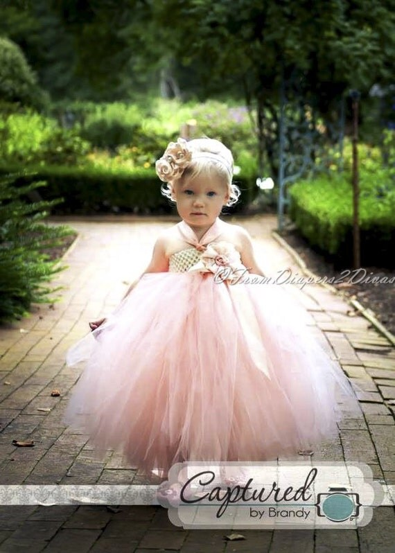 Peaches and Cream Flower Girl Tutu Dress All Sizes  weddings photo ops pageants plays dress up and more