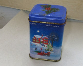 "Small rare Vintage Metal tin tea Box  from 50""s"