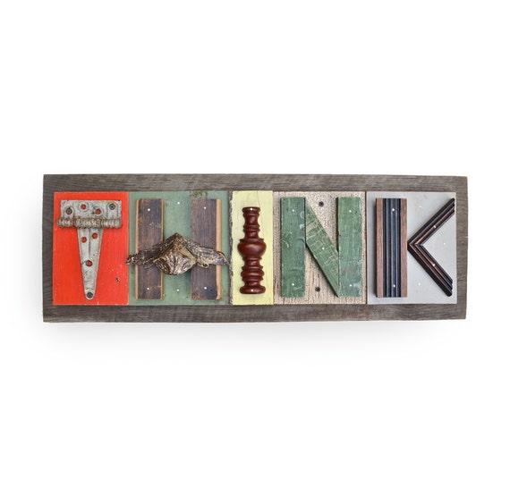 "typography THINK (5) wood collage modern vintage sign letters 29""  Original Art by Elizabeth Rosen"