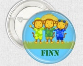 Name button badge Monkey Summer personalised name pinback button badge