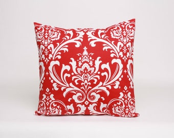 THROW PILLOW sham / cover 18x18 red white damask christmas