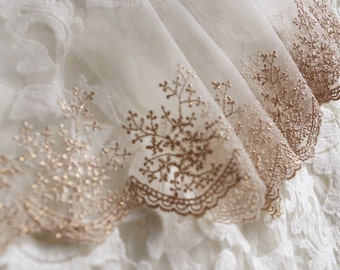 lace trim,  gold embroidered netting lace trim
