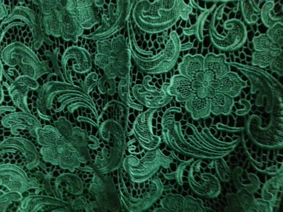 Emerald Green Lace Fabric Venise Lace Fabric Bridal Lace