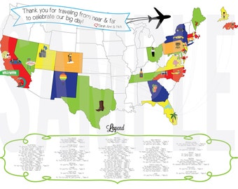Seating Chart Map Of Us Or World Landmark With Your Favorite Places 20 Off