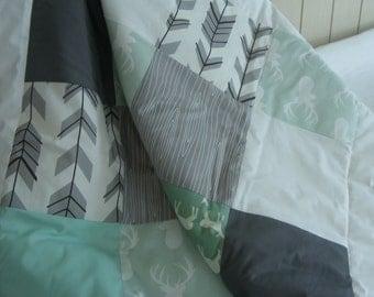 Baby Bedding Crib Bedding Cot Set 2/3 Piece Premium Modern Prints Woodland Deer Mint Grey w/ other options