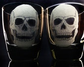 Halloween skull tumbler set day of the dead , smoke glassware, custom hand engraved,