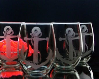 Etched wine glass , Nautical , Rope and anchor stemless wine glasses , Host hostess gift , beach house decor , coastal living Set of Four