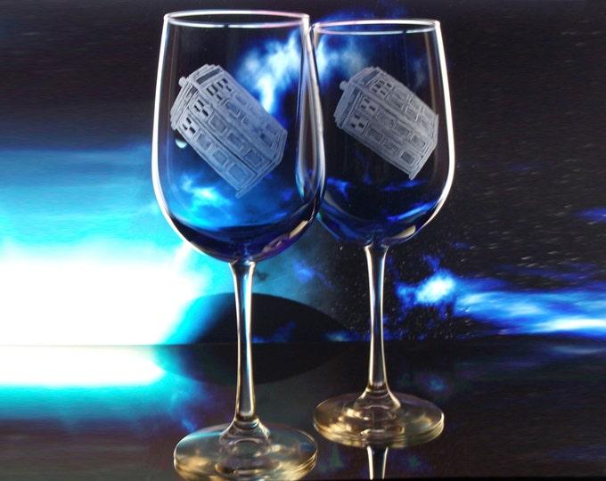 Police Box   Blue Wine Glass Set  Doctor Who  Tardis Theme Geek Wedding Accessories
