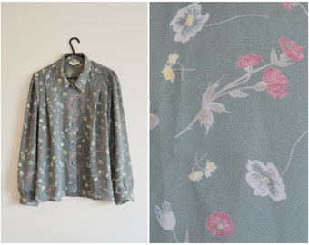Green Floral Shirt - country style, pleats, button down, long sleeves, small - large