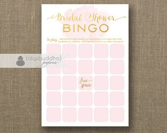 Blush Pink & Gold Watercolor Bridal Shower Bingo INSTANT DOWNLOAD 5x7 Shabby Chic Modern Shower Game Card DIY Printable or Printed- Audrina