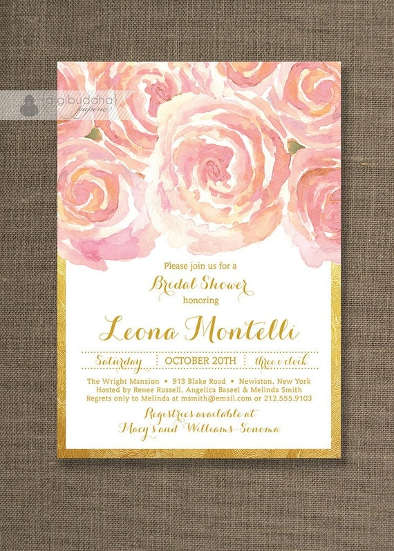 Blush Pink & Gold Bridal Shower Invitation Roses Shabby Chic Ranuncula ...