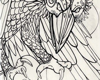 thunderbird, cryptid, cryptozoology,  horror art, coloring book page