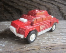 REDUCED Metal Toy Truck 1970s Armored Car Metal and Plastic Retro Vintage Toys 70s Era Toys Red Tootsie Toy Made in Chicago USA  Vehicles