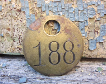 Vintage Brass Tag Token Keychain Tag vtg Number Tag Jewelry Charm Brass Number 188 Industrial Tag Old VTG Tag Farm Industrial Tag Lucky Fob