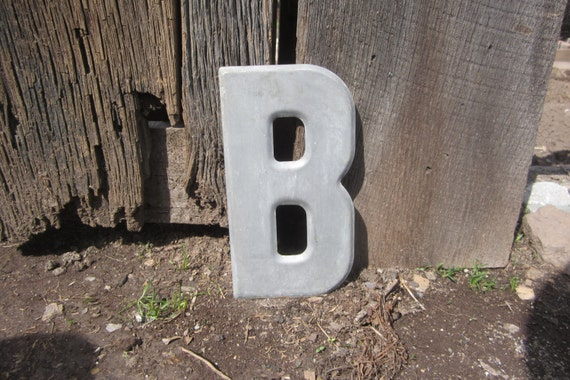 Metal Letter B Wall Decor : Vintage sign metal letter b painted gray old marquee