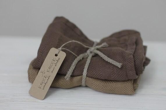 Linen Towels in Mushroom