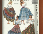 McCalls 6284 Multi Ruffled Tiered Square Dancing Skirts Size XS S M