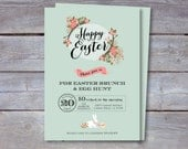 EASTER Invitation - Printable file. Brunch and Egg Hunt. Print or email your own. 7x5.