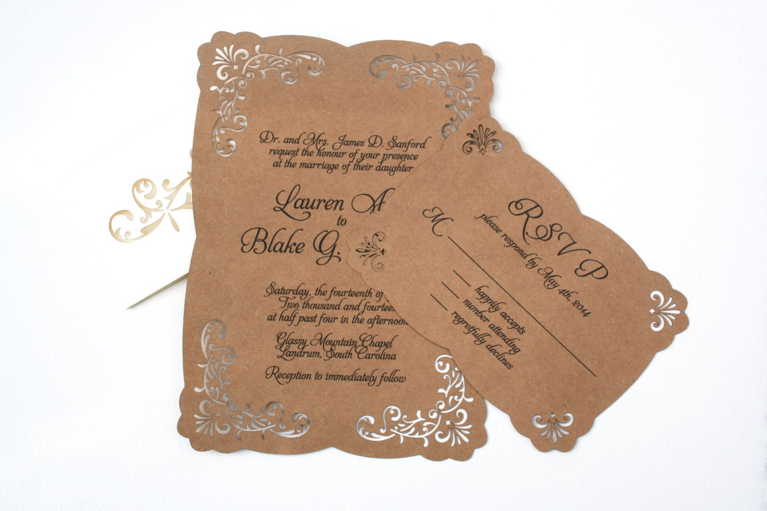 Wedding Invitation With Lace: Lace Laser Cut Vintage Inspired Wedding Invitation: Elegant