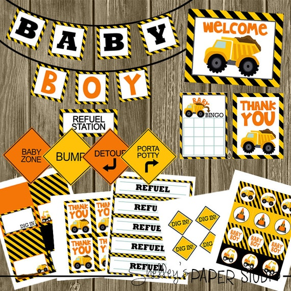 construction baby shower printables pack