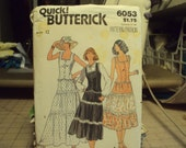 1970's style in a long skirt, calf length skirt and vest style top--Butterick pattern #6053--uncut