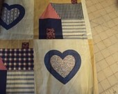 "Quilting fabric, country pinks and blues--hearts and houses12"" by 86"""